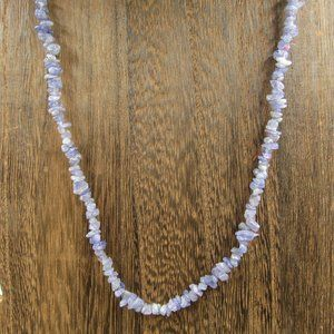 """Vintage 19"""" Sterling Rough Amethyst Stone Necklace"""